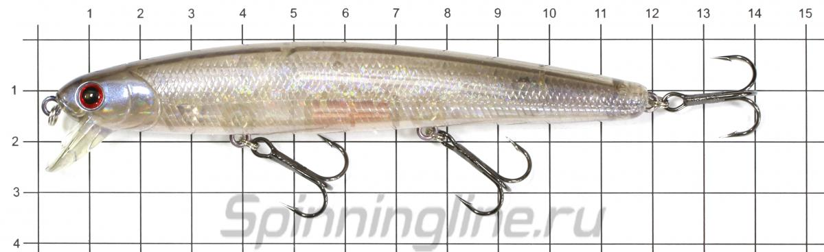 Воблер Flash Minnow 110SP Ghost Pearl Ayu 125 - фото на размерной линейке (цвет может отличаться) 1