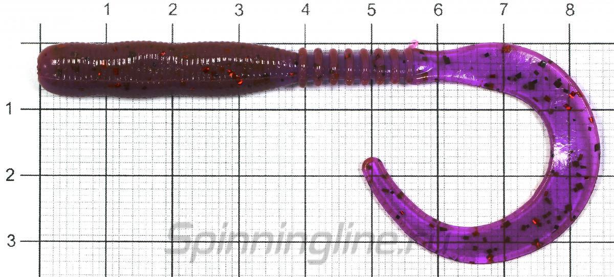 """Приманка Reins Curly Curly 4"""" 025 Watermelon Red - фото на размерной линейке (цвет может отличаться) 1"""