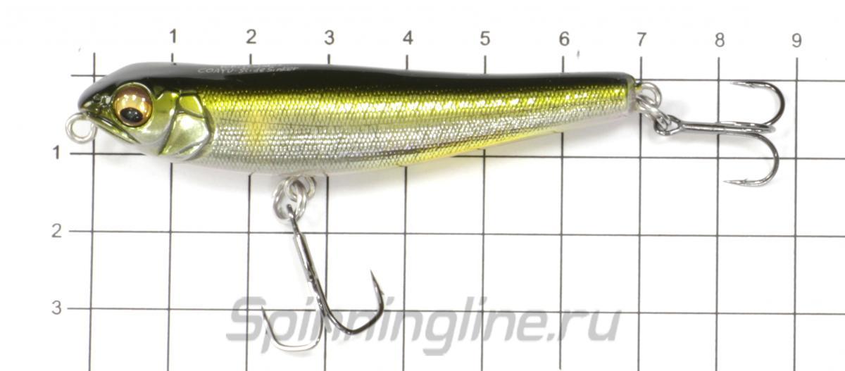 Воблер Coayu Slide Sinker m golden lime - фото на размерной линейке (цвет может отличаться) 1