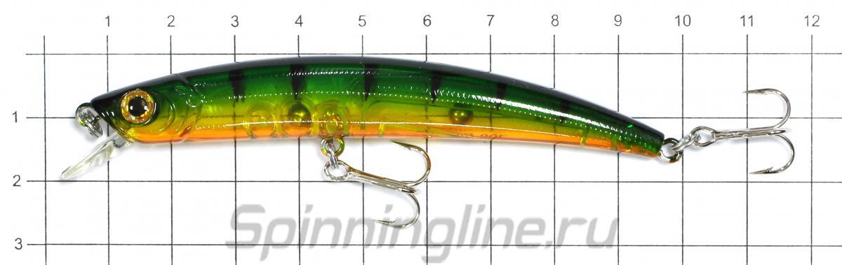 Воблер Jib 90F PER - фото на размерной линейке (цвет может отличаться) 1