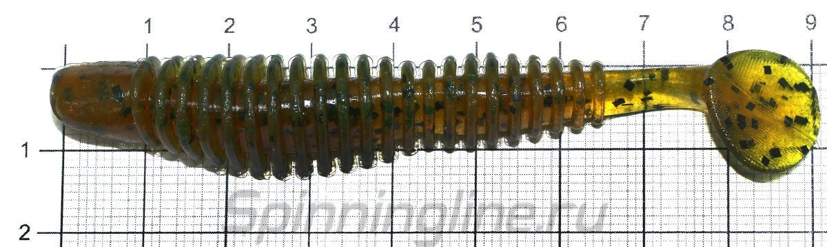 """Приманка Reins Bubbring Shad 3"""" 009 Green Pumpkin All Stars - фото на размерной линейке (цвет может отличаться) 1"""