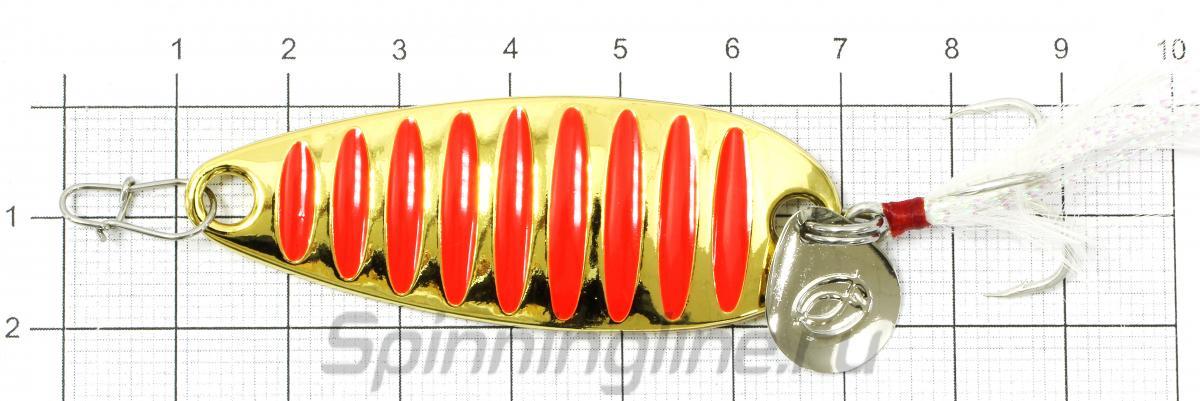 Блесна Curve 10гр Gold - фотография на размерной линейке 1