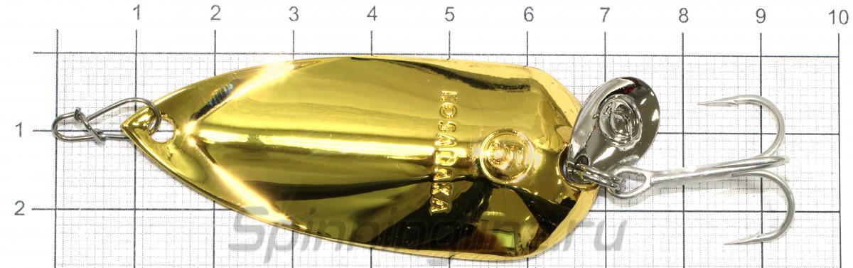 Блесна Grav spoon 21гр Gold - фотография на размерной линейке 1