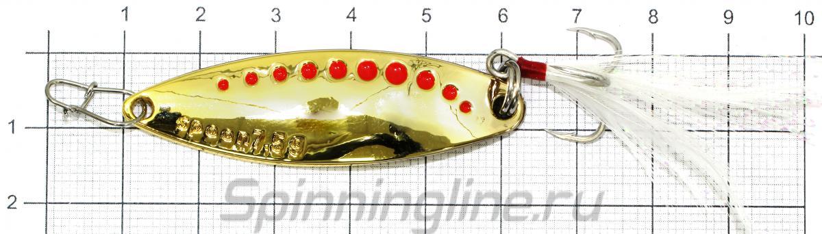 Блесна MLX 7,5гр Gold - фото на размерной линейке (цвет может отличаться) 1