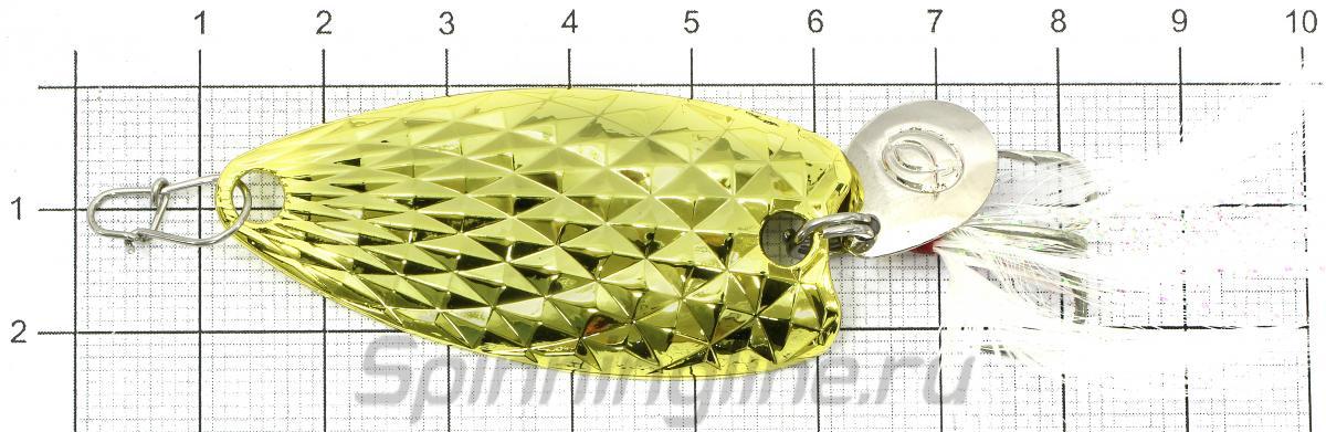 Блесна PIN spoon 15гр Gold - фото на размерной линейке (цвет может отличаться) 1