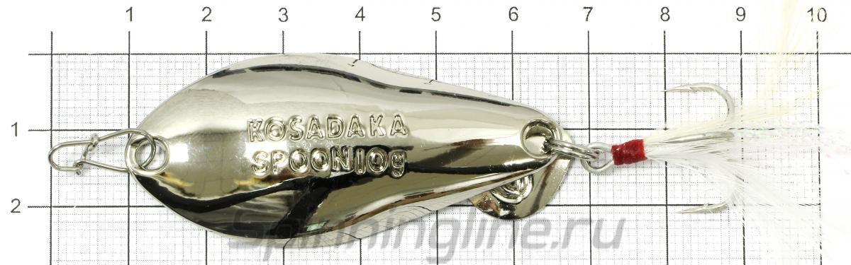 Блесна Kosadaka Warga spoon 10гр Silver - фото на размерной линейке (цвет может отличаться) 1
