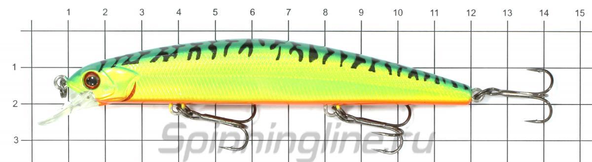 Воблер Flash XS 110F LME - фото на размерной линейке (цвет может отличаться) 1