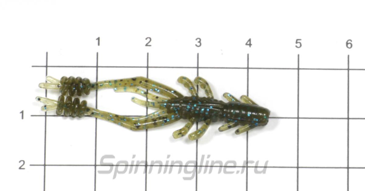 """Приманка Reins Ring Shrimp 2"""" 567 Lilac Silver&Blue Flake - фото на размерной линейке (цвет может отличаться) 1"""