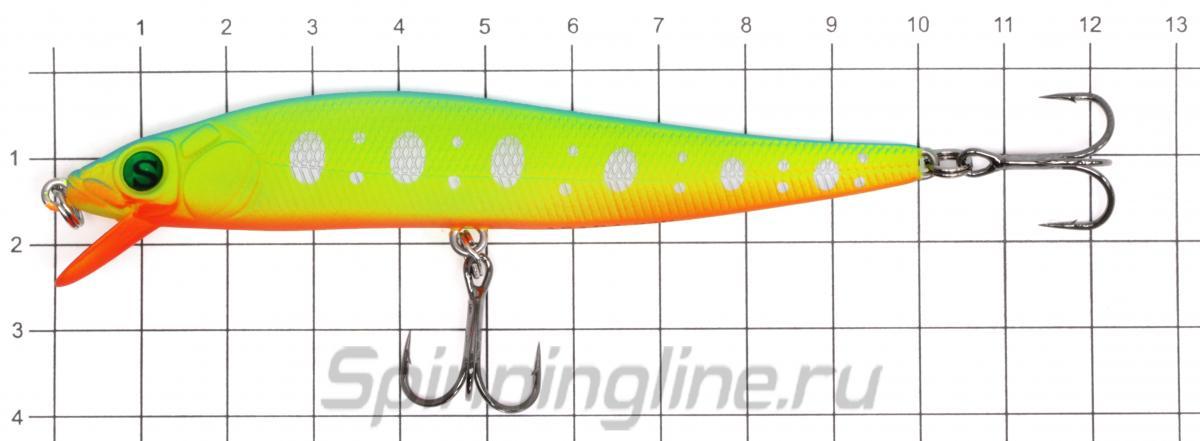 Воблер Sprut Asaba 98F CRLPN - фото на размерной линейке (цвет может отличаться) 1