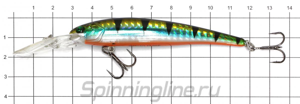 Воблер Sprut Taiho 90F WL - фото на размерной линейке (цвет может отличаться) 1
