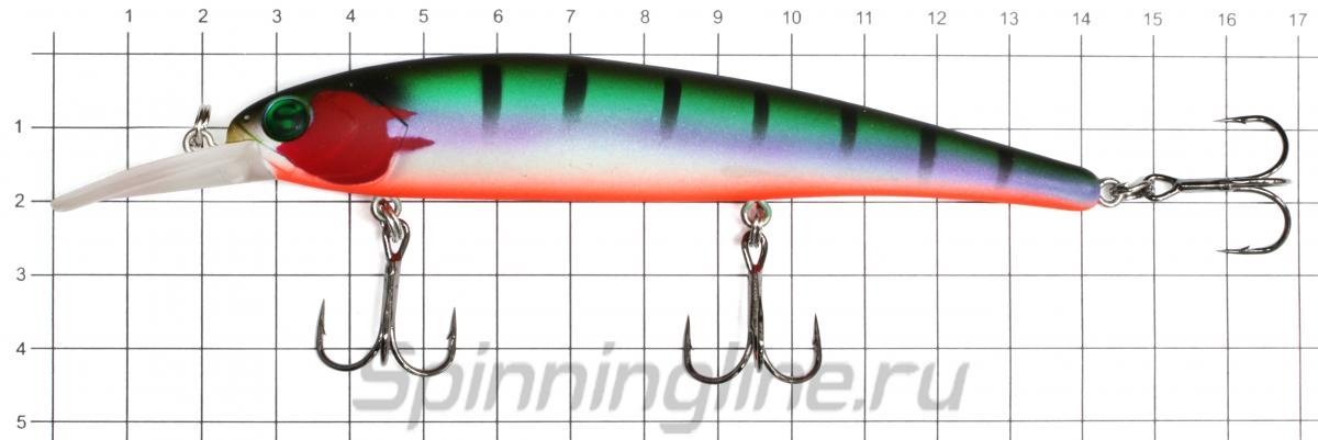 Воблер Sprut Taiho 120F WL - фото на размерной линейке (цвет может отличаться) 1