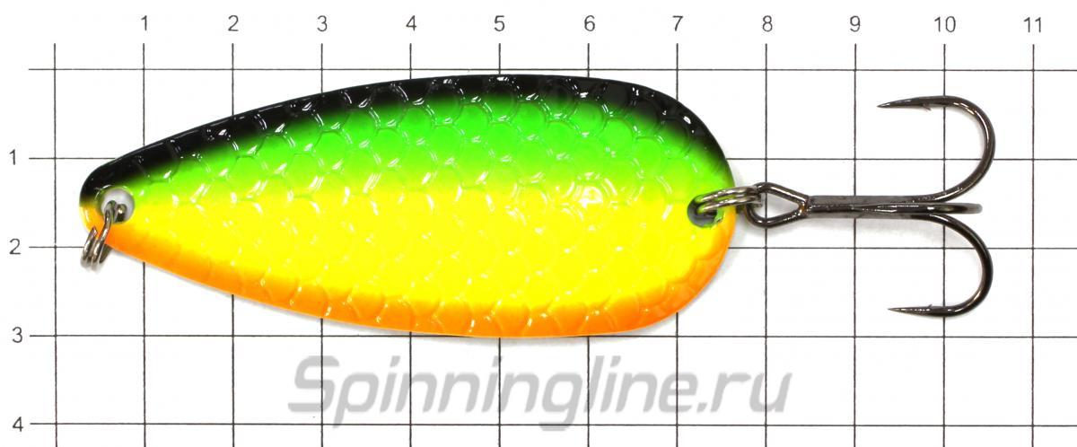 Блесна Sprut Gecko Spoon 70 TBK - фото на размерной линейке (цвет может отличаться) 1
