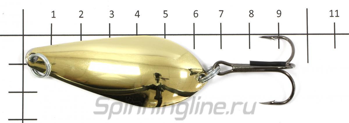 Блесна Атом латунь/никель 20гр - фото на размерной линейке (цвет может отличаться) 1
