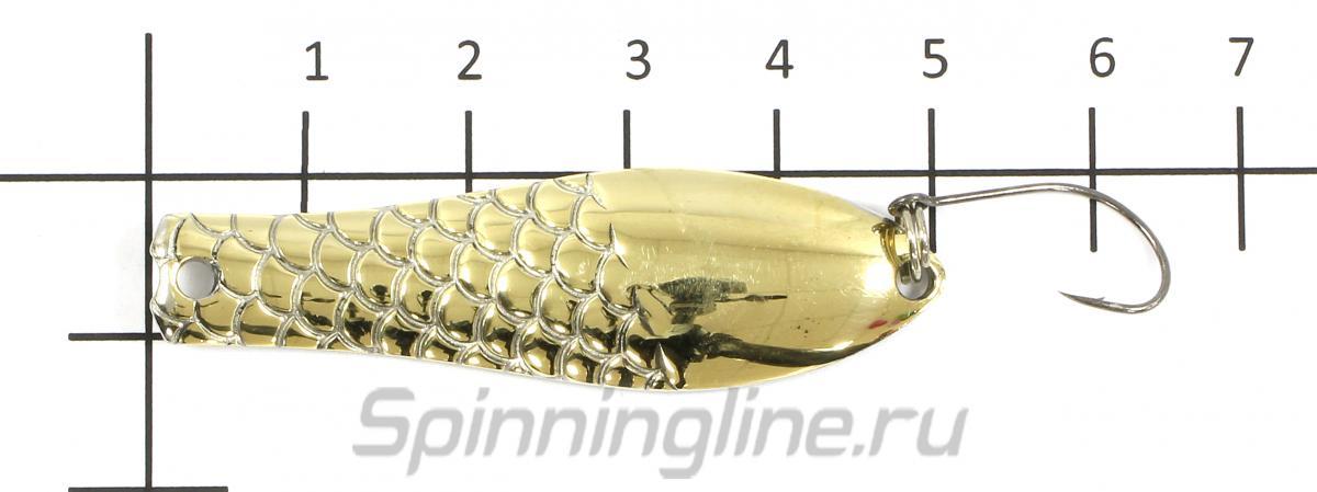 Блесна Малёк мельхиор 6гр - фотография на размерной линейке 1