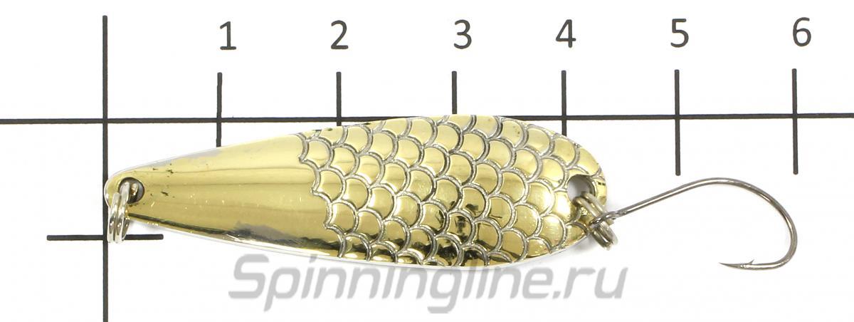 Блесна Универсал латунь/никель 6гр - фото на размерной линейке (цвет может отличаться) 1