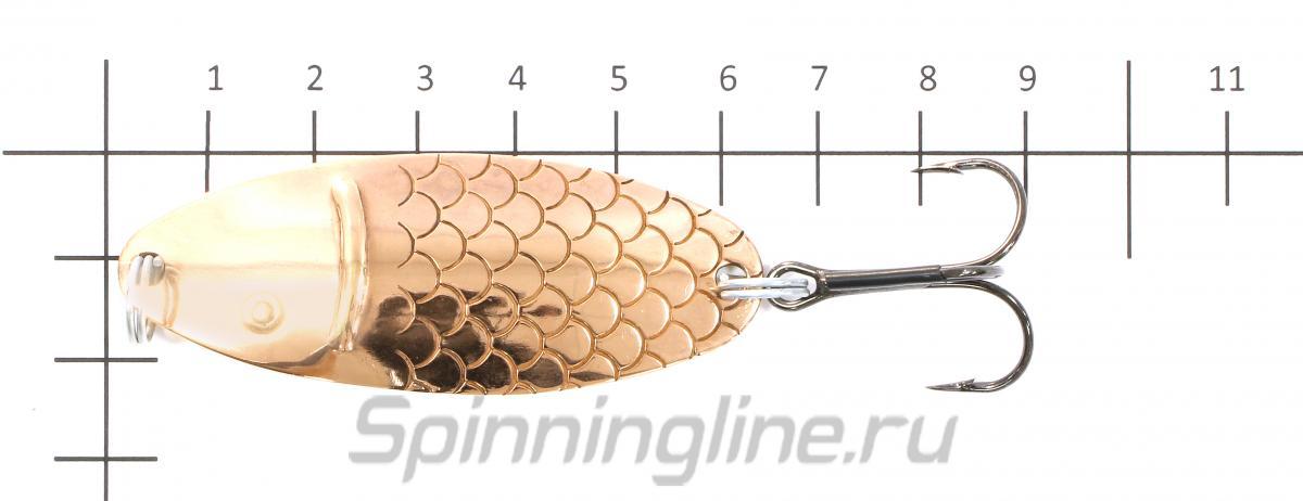 Блесна Черноспинка латунь/никель 12гр - фото на размерной линейке (цвет может отличаться) 1
