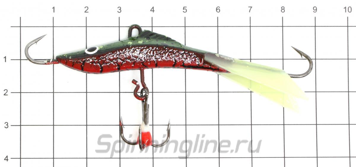 Балансир Sprut Mikari 75 RG + тройник с фосфорной каплей - фото на размерной линейке (цвет может отличаться) 1