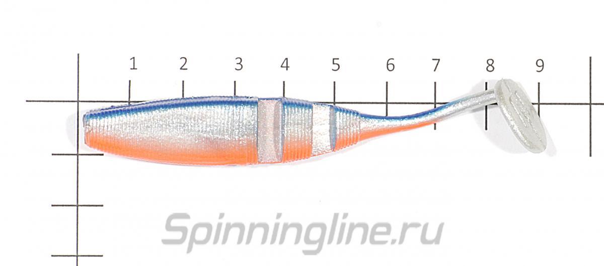 Приманка Narval Loopy Shad 90 010-White Rabbit - фото на размерной линейке (цвет может отличаться) 1
