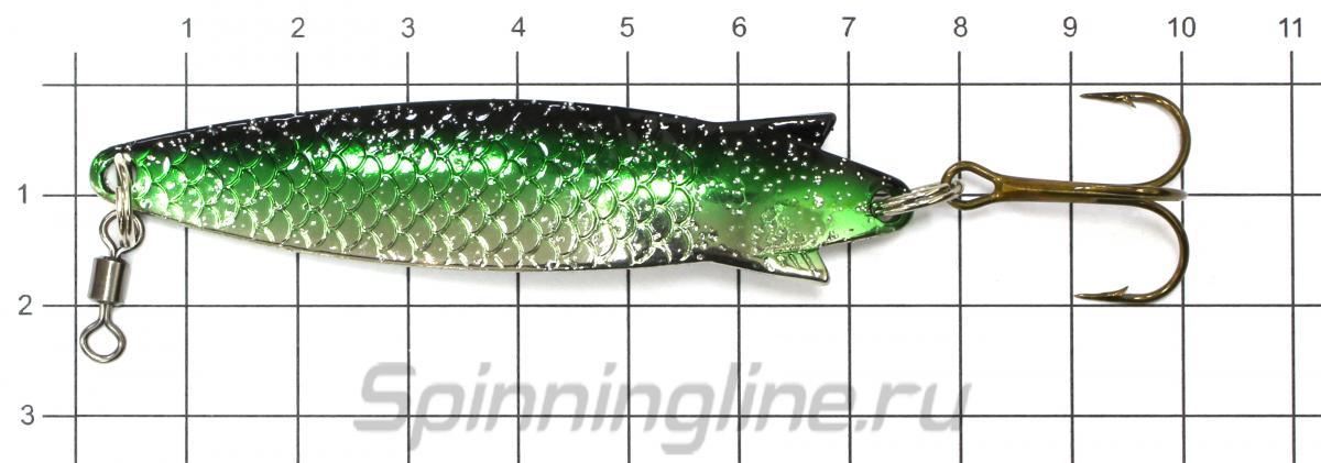 Блесна Abu Garcia Toby 15гр Green Glitter - фото на размерной линейке (цвет может отличаться) 1