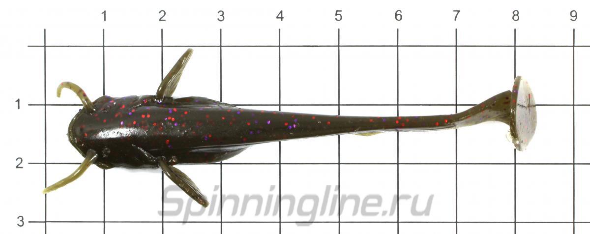 """Приманка FishUp Catfish 3"""" Caramel-Green & Black - фото на размерной линейке (цвет может отличаться) 1"""
