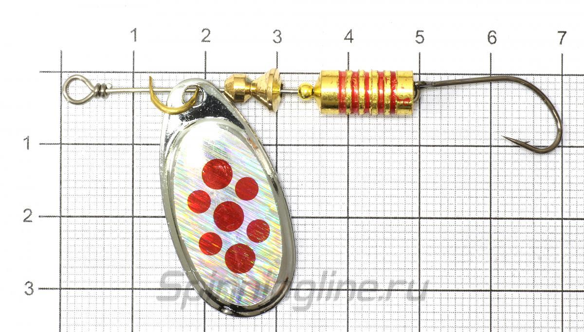 Блесна Balzer Colonel Z 6гр Reed Spot Kupfer тройник - фото на размерной линейке (цвет может отличаться) 1
