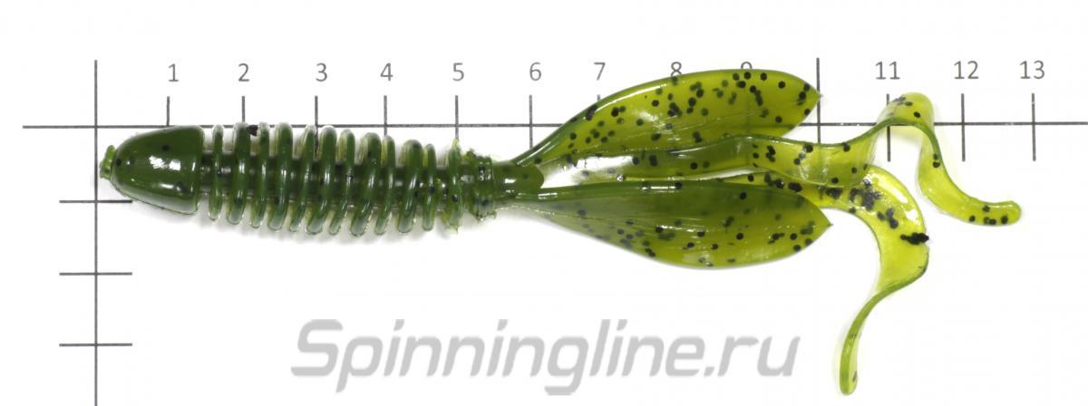 "Приманка Yum Wooly Hawg Tail F2 4,5"" Watermelon Seed - фото на размерной линейке (цвет может отличаться) 1"