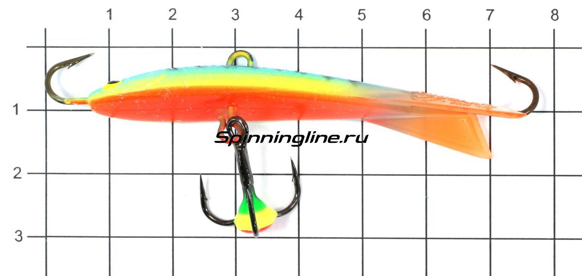 Балансир Kuusamo Tasapaino X-Pro Kuha 75мм RB/BLU/FYe/FR, UV - фото на размерной линейке (цвет может отличаться) 1