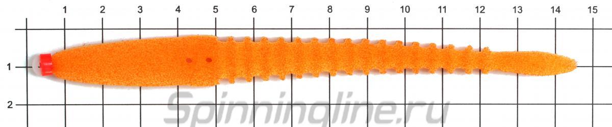 """Набор поролоновых рыбок """"Левша НН"""" 3D Ex Worm 14см Fluo WOr, WOr, WGr, WLgr, WYellow - фото на размерной линейке (цвет может отличаться) 1"""