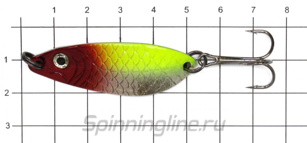 Блесна Akara Окуневая 50 10гр 1/SIL - фото на размерной линейке (цвет может отличаться) 1