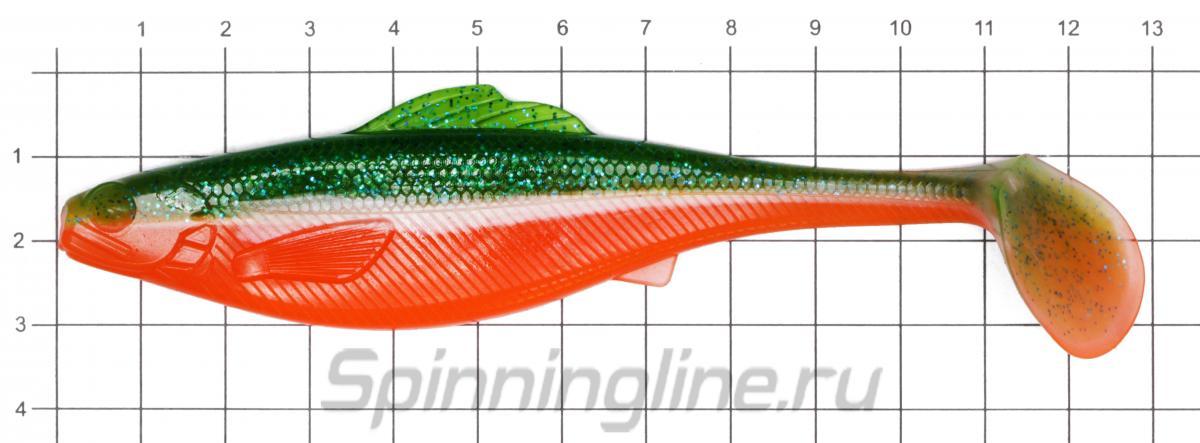Приманка Lucky John Roach Paddle Tail 127/G06 - фото на размерной линейке (цвет может отличаться) 1