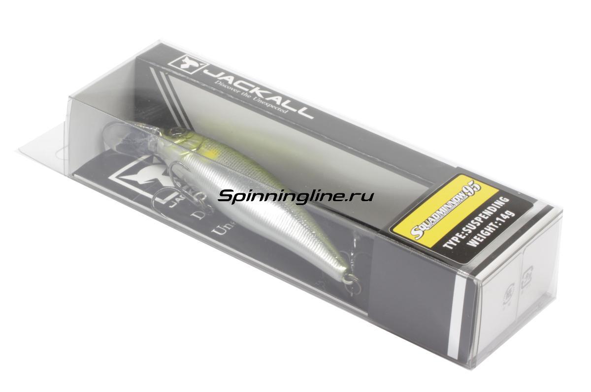 Воблер Jackall Squad Minnow 95 rt super wakasagi - Данное фото демонстрирует вид упаковки, а не товара. Товар на фото может отличаться по цвету, комплектации и т.д. Дизайн упаковки может быть изменен производителем 1