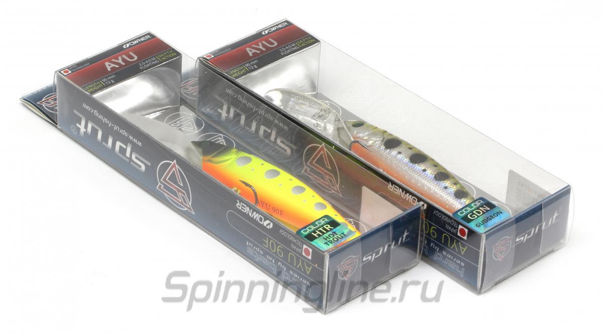 Воблер Sprut Ayu 90F GBK - Данное фото демонстрирует вид упаковки, а не товара. Товар на фото может отличаться по цвету, комплектации и т.д. Дизайн упаковки может быть изменен производителем 1