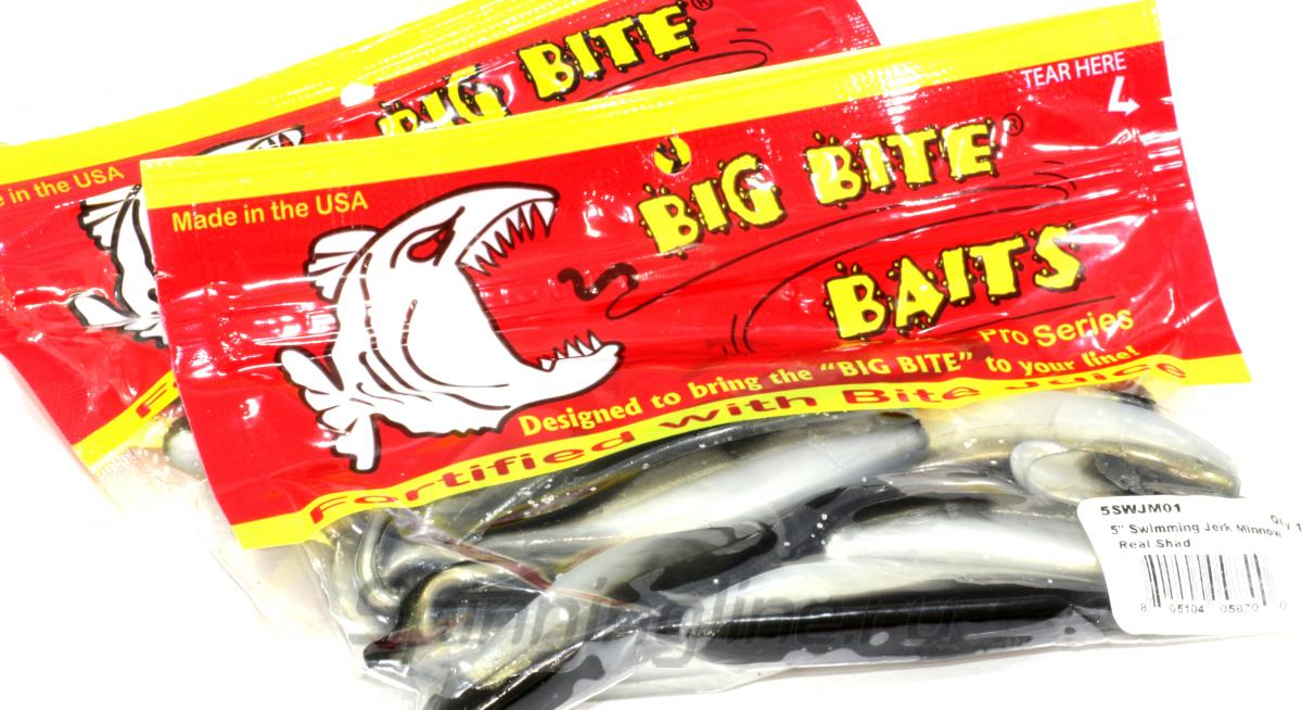 Big Bite Baits - Приманка Swimming Jerk Minnow 5-03 Smoke Metal Flake Pearl Belly - фотография упаковки