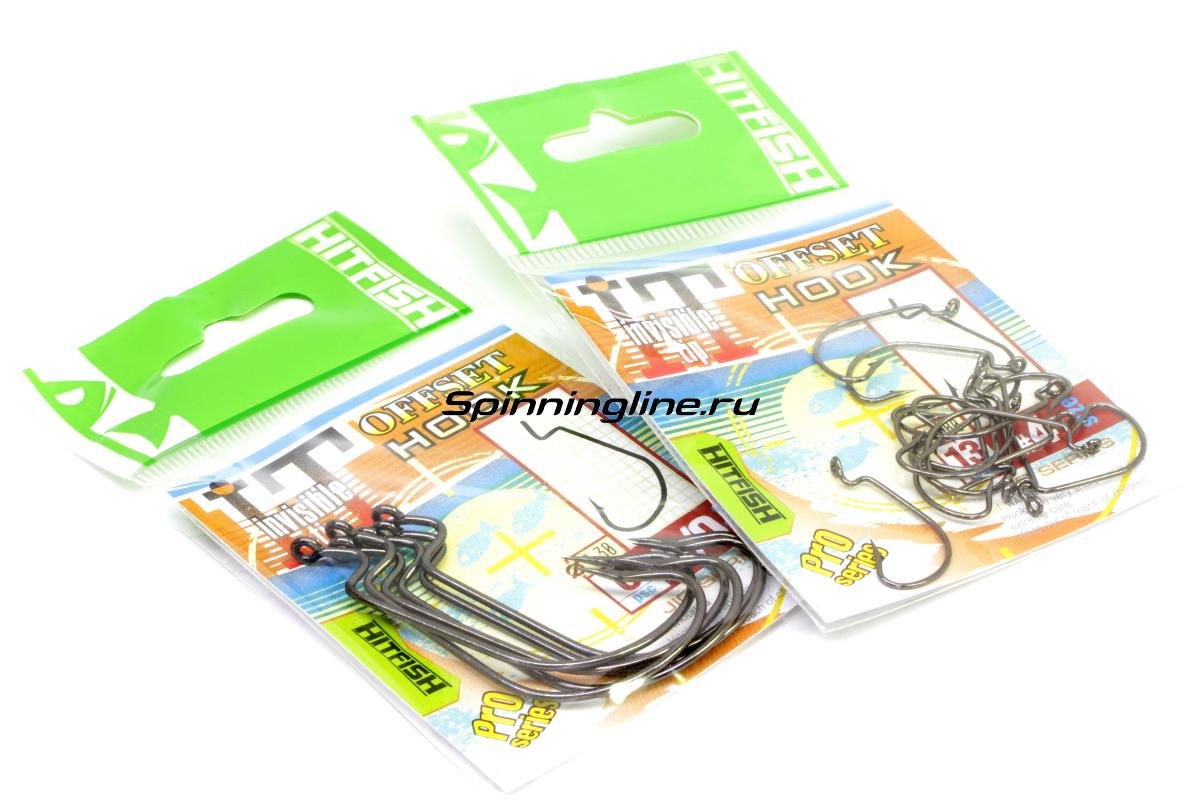 Крючок Hitfish Invisible Tip Offset Hook №3/0 - Данное фото демонстрирует вид упаковки, а не товара. Товар на фото может отличаться по цвету, комплектации и т.д. Дизайн упаковки может быть изменен производителем 1