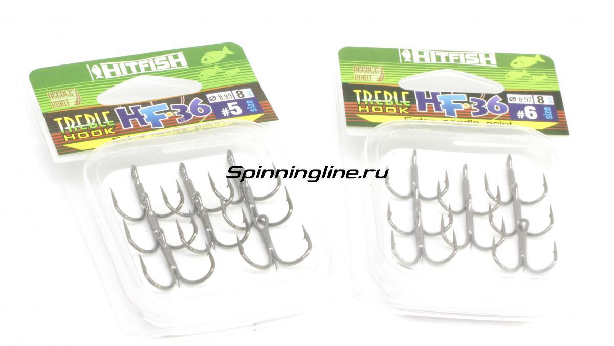Тройник Hitfish HF-36 Needle point №6 - Данное фото демонстрирует вид упаковки, а не товара. Товар на фото может отличаться по цвету, комплектации и т.д. Дизайн упаковки может быть изменен производителем 1