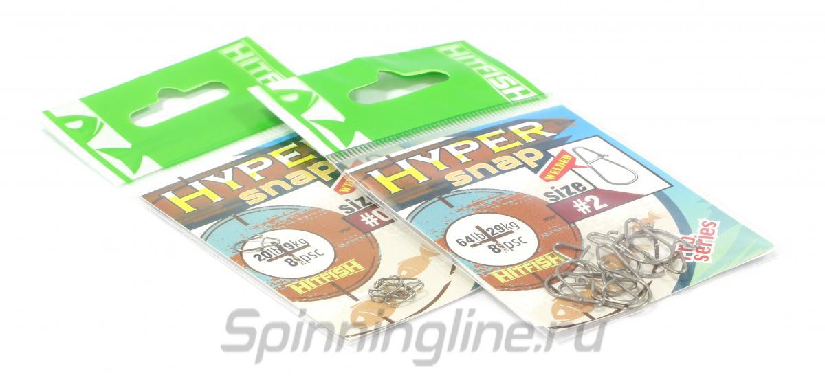 Карабины Hitfish Hiper Snap №000 - Данное фото демонстрирует вид упаковки, а не товара. Товар на фото может отличаться по цвету, комплектации и т.д. Дизайн упаковки может быть изменен производителем 1