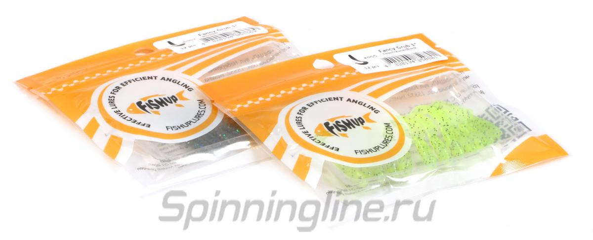 """Приманка FishUp Fancy Grub 1"""" Flo Chartreuse/Green - Данное фото демонстрирует вид упаковки, а не товара. Товар на фото может отличаться по цвету, комплектации и т.д. Дизайн упаковки может быть изменен производителем 1"""
