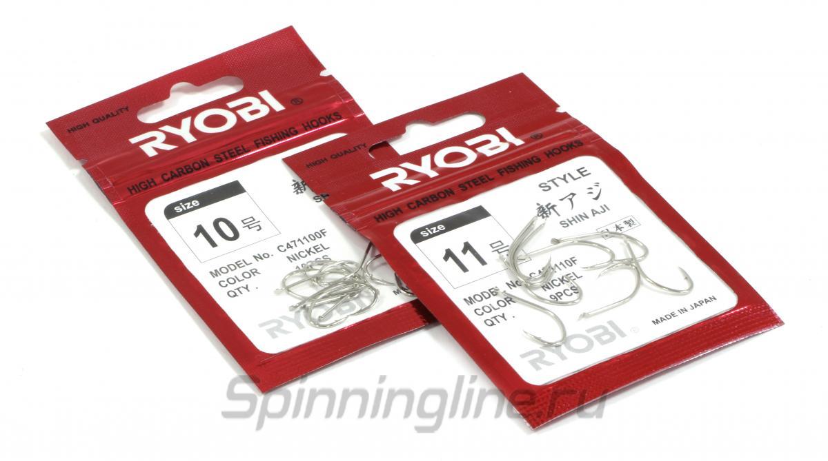 Крючок Ryobi Shin Aji Flatted Nickel №6 - Данное фото демонстрирует вид упаковки, а не товара. Товар на фото может отличаться по цвету, комплектации и т.д. Дизайн упаковки может быть изменен производителем 1