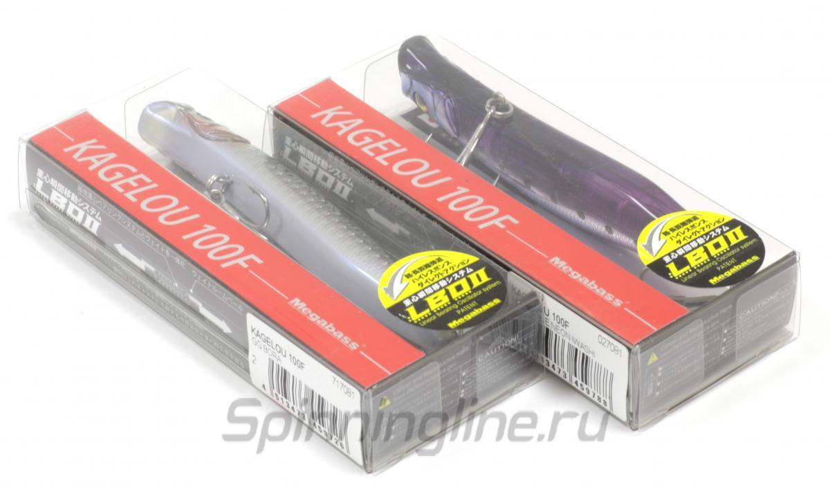 Воблер Megabass Kagelou 100F Gg Night Light Iwashi - Данное фото демонстрирует вид упаковки, а не товара. Товар на фото может отличаться по цвету, комплектации и т.д. Дизайн упаковки может быть изменен производителем 1