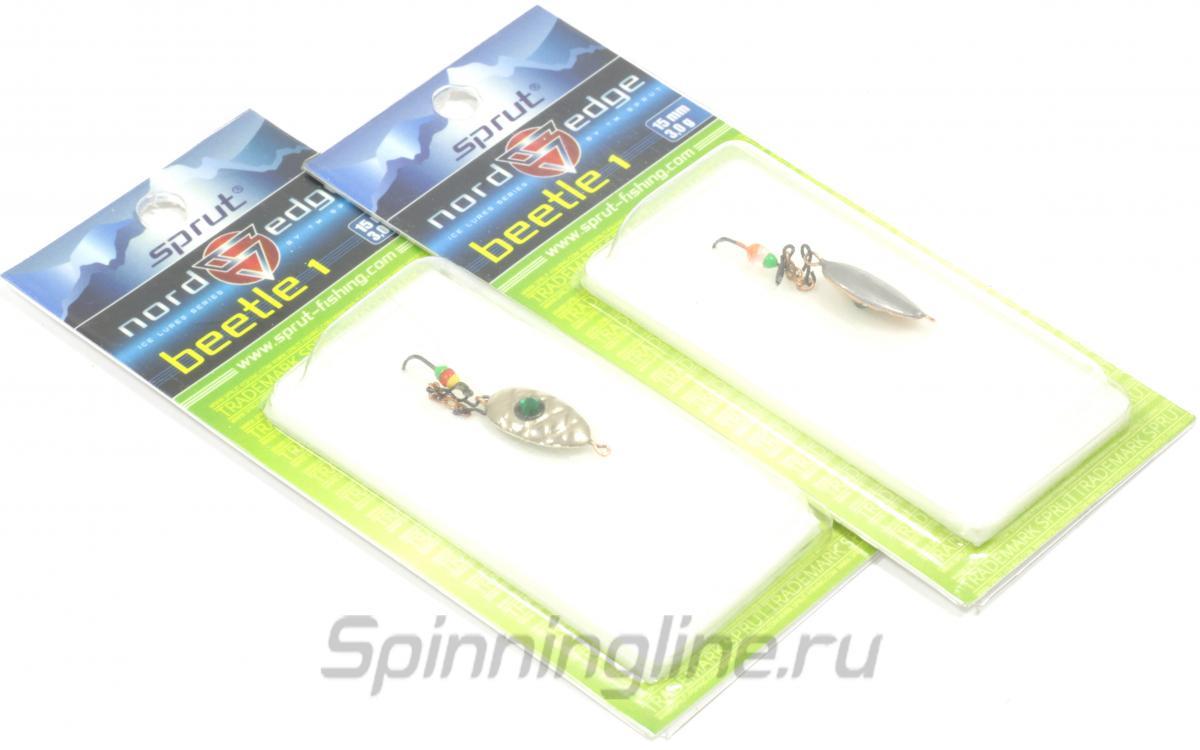 Блесна Sprut Beetle 1 2,5гр Nickel - Данное фото демонстрирует вид упаковки, а не товара. Товар на фото может отличаться по цвету, комплектации и т.д. Дизайн упаковки может быть изменен производителем 1
