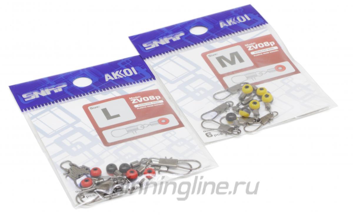 Вертлюг с карабином Akkoi Snap ZV08p L - Данное фото демонстрирует вид упаковки, а не товара. Товар на фото может отличаться по цвету, комплектации и т.д. Дизайн упаковки может быть изменен производителем 1