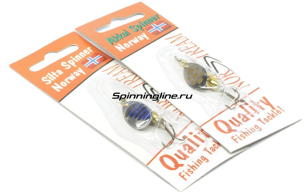 Блесна Norstream Akkai Spinner 3гр SV - Данное фото демонстрирует вид упаковки, а не товара. Товар на фото может отличаться по цвету, комплектации и т.д. Дизайн упаковки может быть изменен производителем 1
