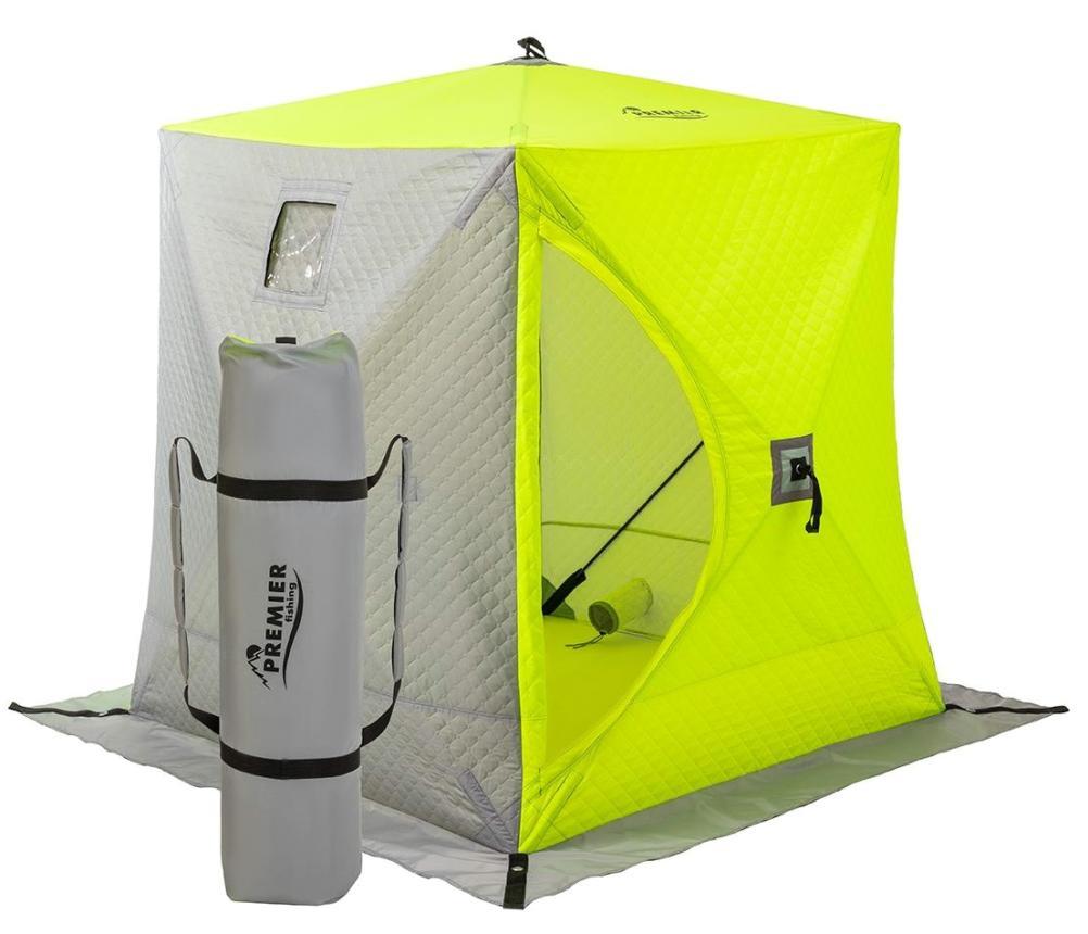 Палатка зимняя Premier Куб утепленная 1,8*1,8 Yellow Lumi/Grey - фото предоставленно поставщиком 1