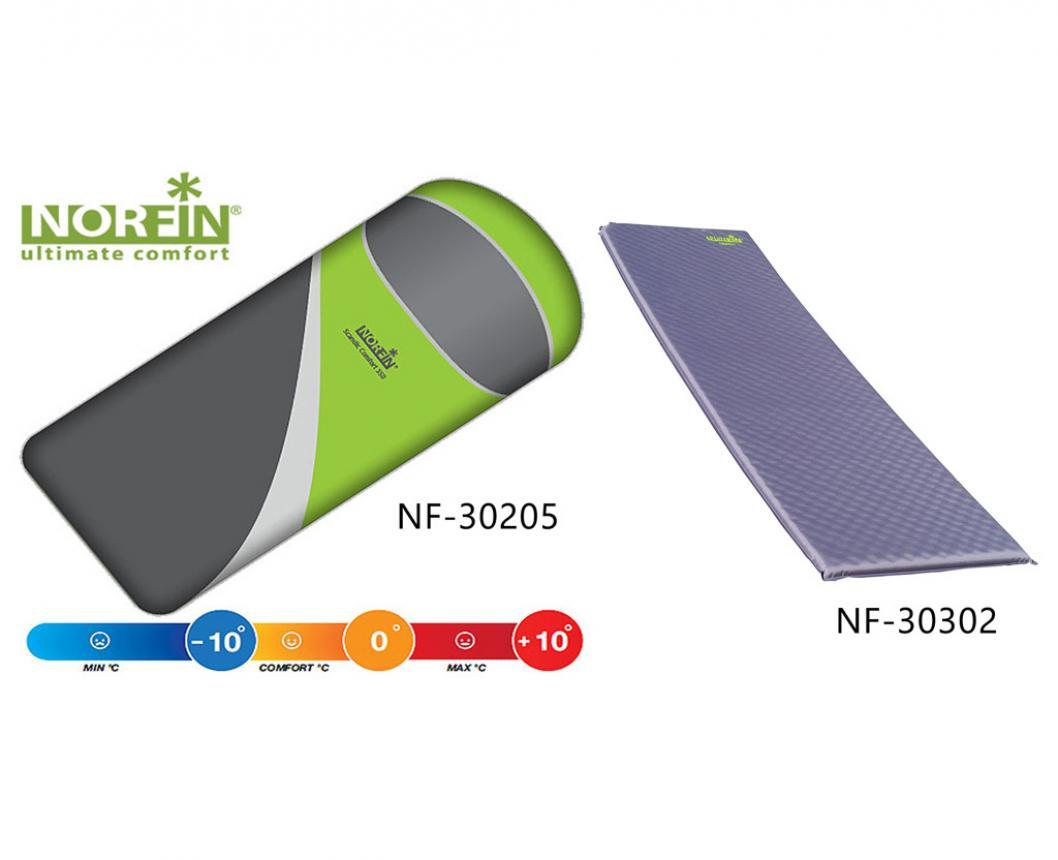 Спальный мешок Norfin Scandic Comfort + самонадувающийся коврик Atlantic