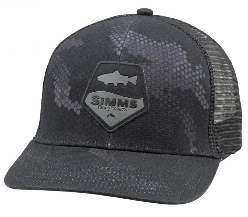 Кепка Simms Trout Patch Trucker Hex Camo Carbon