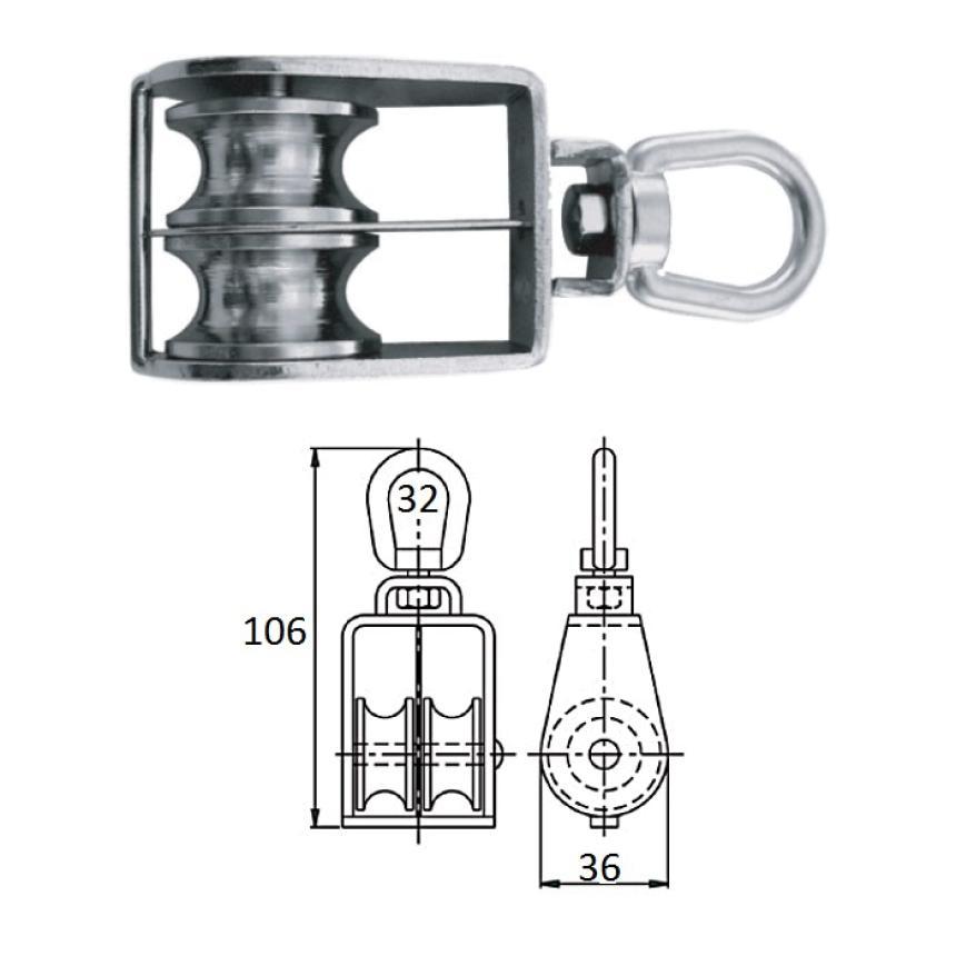 Блок CIM 1-шкив. со скобой 32мм 0506