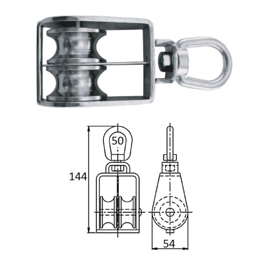 Блок CIM 1-шкив. со скобой 50мм 0506