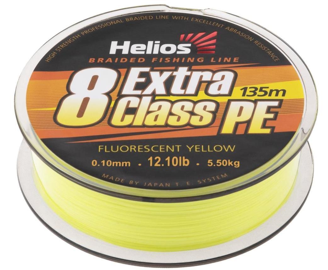 Шнур Helios Extra Class 8 PE Braid 135м 0,12мм Fluorescent Yellow