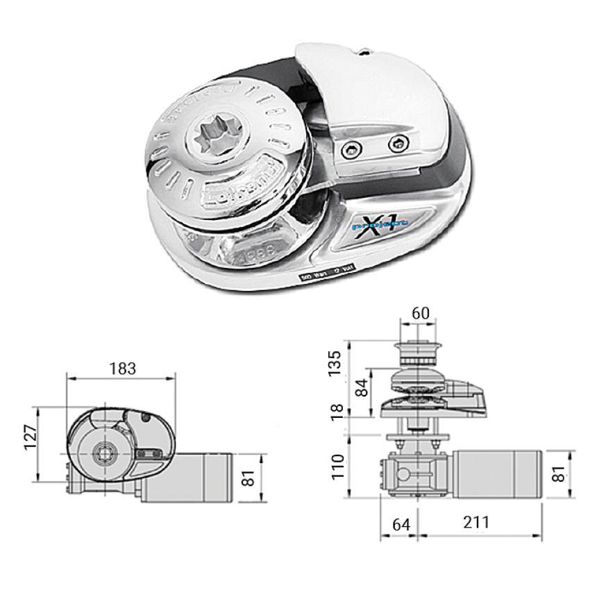 Лебедка якорная Lofrans X1 без барабана 500Вт 12В цепь 6мм