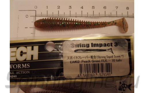 "Keitech - Приманка Swing Impact 3"" Peach Green Flake - фотография пользователя"